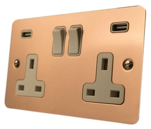 G&H FBC910W Flat Plate Bright Copper 2 Gang Double 13A Switched Plug Socket USB